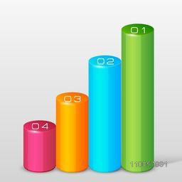 Abstract business infographic growth chart in different color with numeric on grey background.