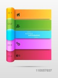 Colorful business infographic template with menu function on grey background.