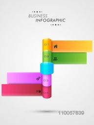 Abstract infographic layout with menu functions for official presentation on grey background.