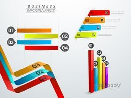 Shiny colorful infographics elements like ribbon, arrows and bars, can be used in business reports and presentation.
