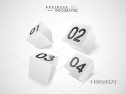 3D blocks infographic elements with numbers on grey background for business presentation.