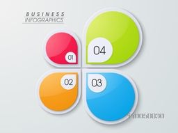 Colorful business infographics layout with numbers on grey background.