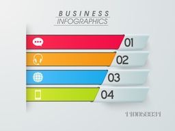 Colorful infographics stripes with numbers on grey background for your business.