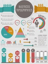 Big set of colorful business infographic elements include pie chart, statistical bar and graph.