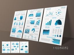 Set of creative business infographic template, flyer or brochure with statistical bar, graph and pie chart.