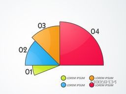 Stylish infographic layout showing growth statistics by different colors on grey background.