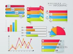 Set of colorful infographic elements including graphs, bars, paper stripes, pie chart and arrow with icons on grey background.