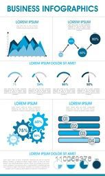 Business infographics template with statistical graphs and bars showing growth.