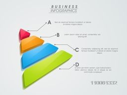 Colorful 3D infographic element in triangle shape for growth data presentation on grey background.
