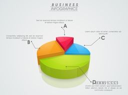 3D infographics pie chart showing professional data by different colors ob grey background.