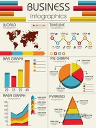 Set of different infographics including World Map, Timeline, Bar Graph, Pie Graph, Area Graph and Pyramid infographics for business presentation.
