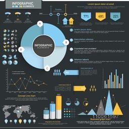 Creative Business Infographic elements set layout including statistical pie chart, graphs, bars and world map for corporate sector.