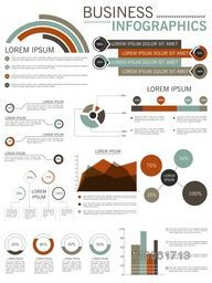Collection of different business infographics elements for print, presentation and reports.