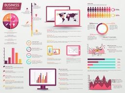 A big set of various Infographic elements including statistical charts, graphs, bars with digital devices display for business and corporate sector.