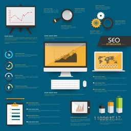 Set of Search Engine Optimization Infographic with digital devices and graphs on blue background.