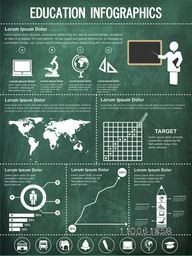 Different education infographic elements collection on green chalboard background.