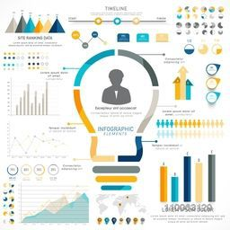 Creative timeline infographic elements with statistical graphs, charts and illustration of light bulb for idea concept.