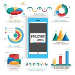 Set of statistical infographic elements including colorful 3D pie charts and graphs for business reports and financial growth presentation.
