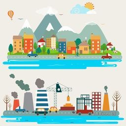 Big set of environmental infographic elements with creative illustration of industrial city view.