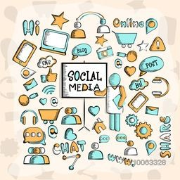 A big set of various creative social media icons, signs and symbols on stylish beige background.