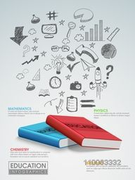Creative education infographic template layout with various hand drawn elements and shiny books.