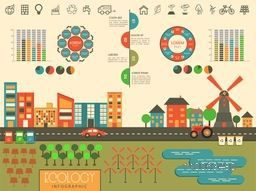 Big set of creative ecology infographic elements with colorful statistical graphs and charts.