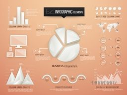 Creative business infographic elements including glossy 3D statistical pie chart and coloumn graphs charts for professional presentation.