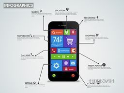 Creative infographic template layout with smartphone presentation, showing various mobile application and features.