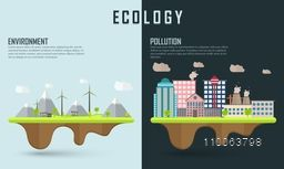 Save ecological infographic layout or template with illustration of urban city showing causes of pollution.