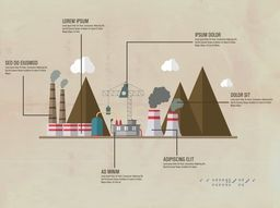 Creative ecological infographic elements with illustration of factory showing causes of pollution.
