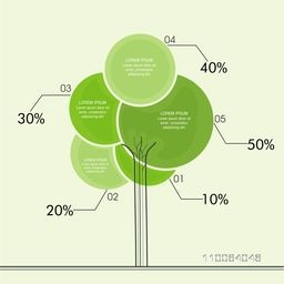 Creative statistical circles infographics in tree shape for ecology concept.