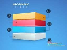 Glossy colorful infographic elements on blue background for your business reports and financial growth presentation.
