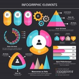 Colorful various Business Infographic elements set including statisitcal charts, graphs, bar etc.