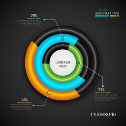 Creative glossy infographic circle on grey background for your Business presentation.