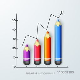 Creative infographic made by color pencil showing business growth.