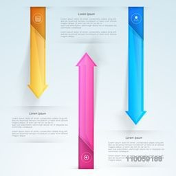 Shiny infographics arrows for business presentation and corporate reports.