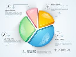 Glossy 3D pie chart infographic template, can be used as business presentation, reports and workflow layout.
