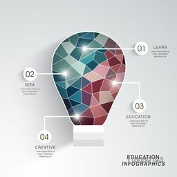 Idea and Education infographics concept with creative illustration of a light bulb on grey background.