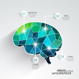 Idea and Education concept with creative illustration of human brain on grey background.