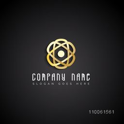 Stylish shiny creative golden corporate icon or business symbol for your factory, company or organisation.