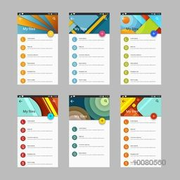 Material Design UI, UX Screens, flat web icons for mobile apps, responsive websites.