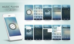 Creative Music Player User Interface Screens with Smartphone presentation.
