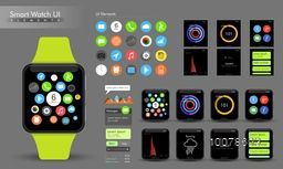 Creative Smart Watch User Interface elements with different templates layout.