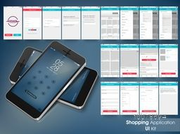 Online Shopping User Interface layout with different creative screens for Smartphone.