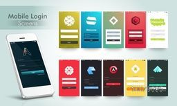 Creative Mobile User Interface Login Screens layout with Smartphone presentation.
