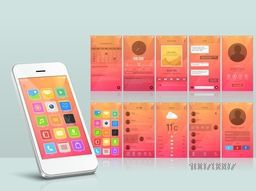 Creative Web User Interface screens with different applications for Mobile.