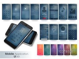 Elegant Web or Mobile Application User Interface kit with smartphone presentation.