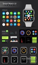 Creative fashionable Smart Watch with different UI elements and templates.