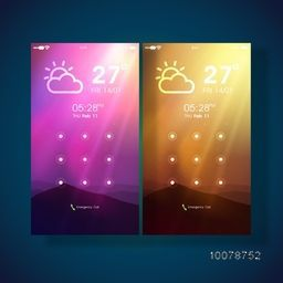 Creative mobile User Interface lock screen presentation with Weather feature.
