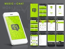 Creative User Interface with different Music and Chat Screens presentation for Smartphone.